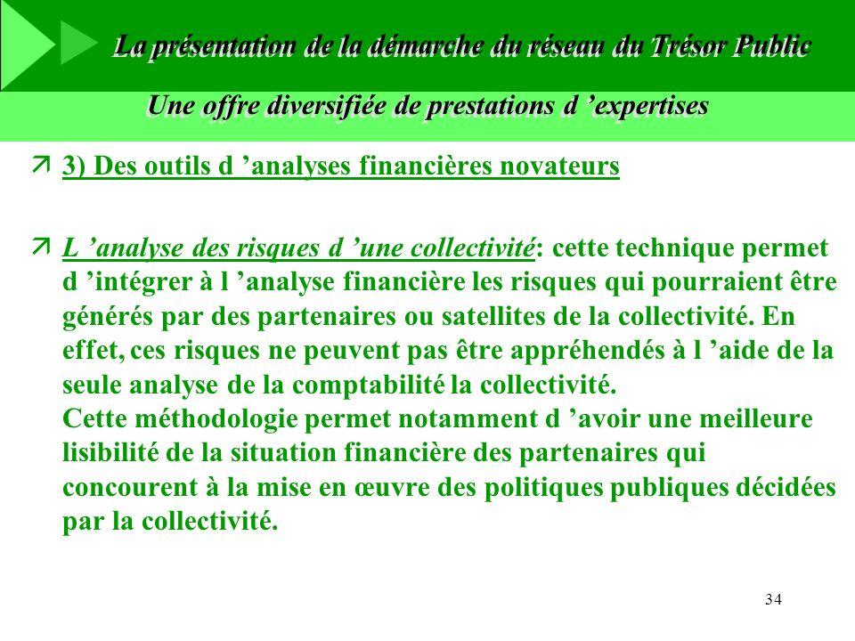 34 Une offre diversifiée de prestations d expertises ä3) Des outils d analyses financières novateurs äL analyse des risques d une collectivité: cette