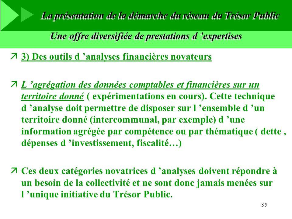 35 Une offre diversifiée de prestations d expertises ä3) Des outils d analyses financières novateurs äL agrégation des données comptables et financièr