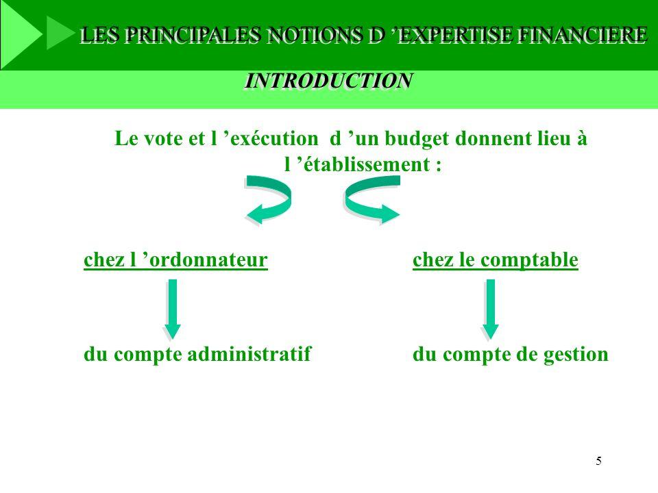 5 Le vote et l exécution d un budget donnent lieu à l établissement : chez l ordonnateurchez le comptable du compte administratifdu compte de gestion
