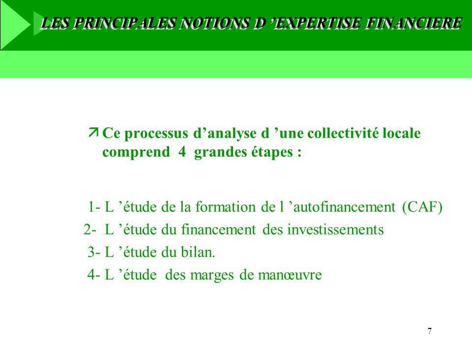 7 äCe processus danalyse d une collectivité locale comprend 4 grandes étapes : 1- L étude de la formation de l autofinancement (CAF) 2- L étude du fin