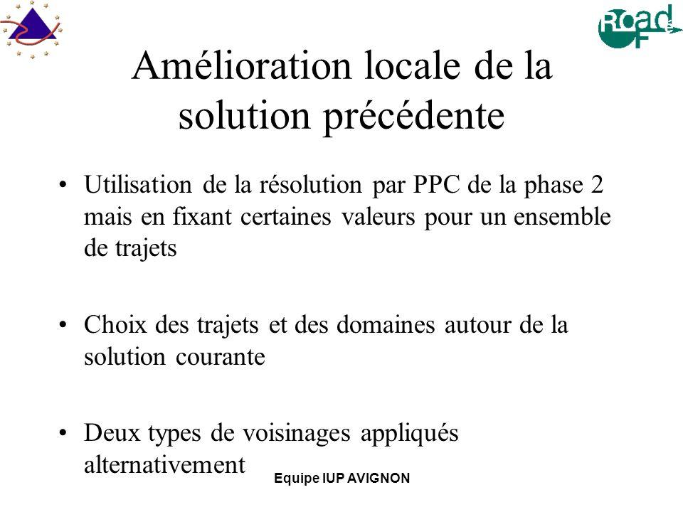 Equipe IUP AVIGNON Amélioration locale de la solution précédente Utilisation de la résolution par PPC de la phase 2 mais en fixant certaines valeurs pour un ensemble de trajets Choix des trajets et des domaines autour de la solution courante Deux types de voisinages appliqués alternativement
