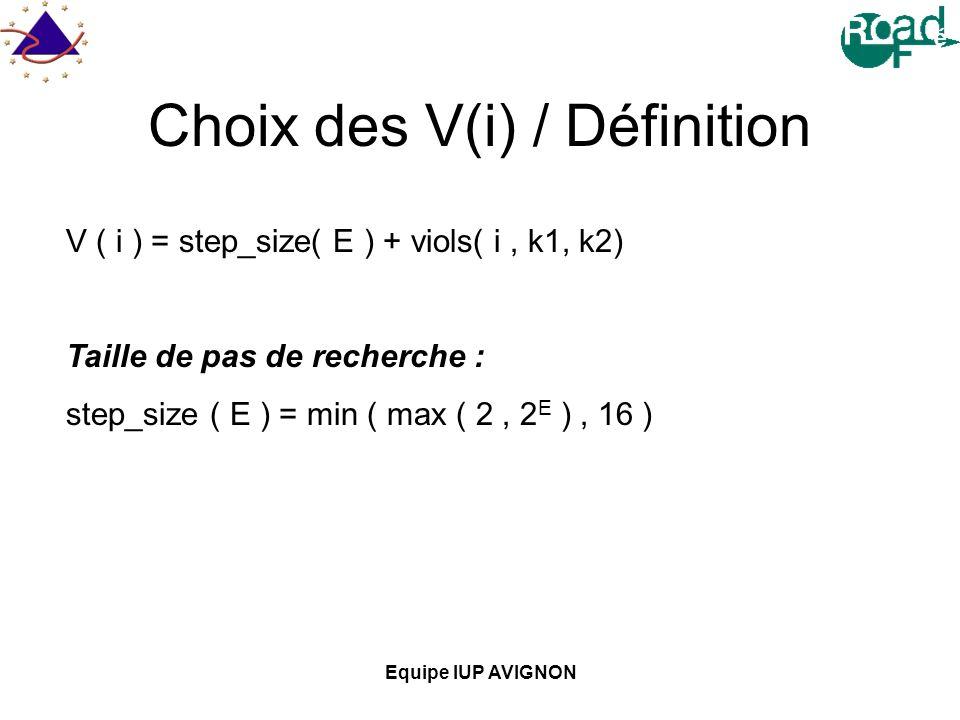 Equipe IUP AVIGNON Choix des V(i) / Définition V ( i ) = step_size( E ) + viols( i, k1, k2) Taille de pas de recherche : step_size ( E ) = min ( max ( 2, 2 E ), 16 )