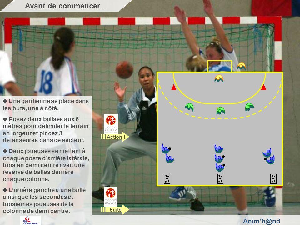 Animh@nd Une gardienne se place dans les buts, une à côté. Posez deux balises aux 6 mètres pour délimiter le terrain en largeur et placez 3 défenseure