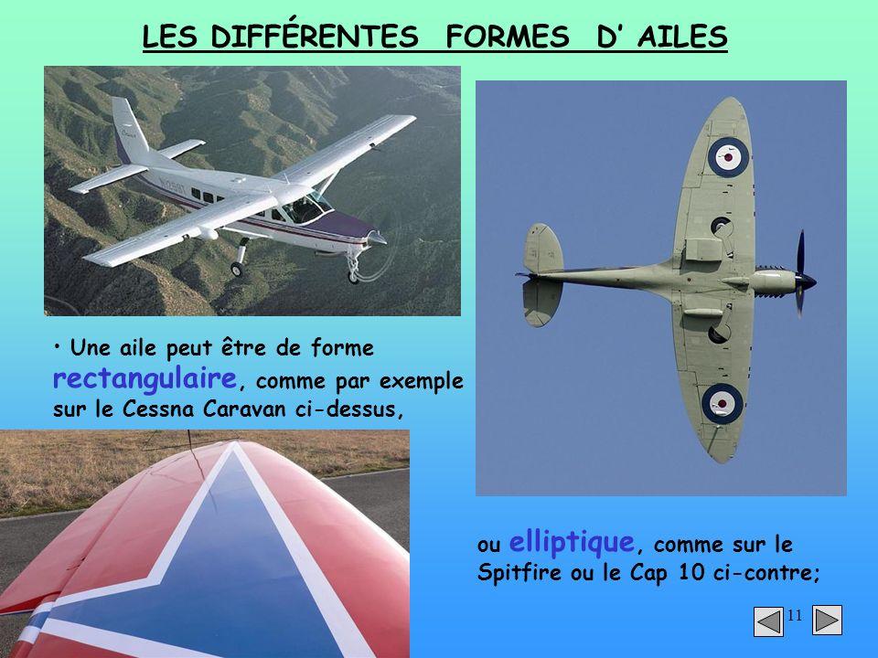 11 LES DIFFÉRENTES FORMES D AILES Une aile peut être de forme rectangulaire, comme par exemple sur le Cessna Caravan ci-dessus, ou elliptique, comme s