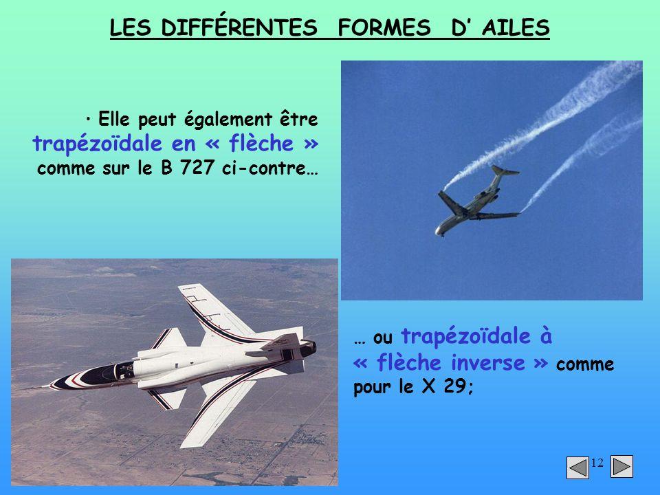 12 LES DIFFÉRENTES FORMES D AILES Elle peut également être trapézoïdale en « flèche » comme sur le B 727 ci-contre… … ou trapézoïdale à « flèche inver