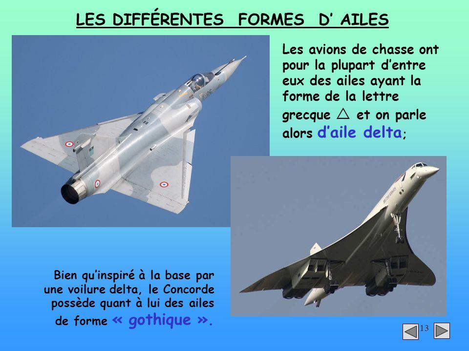 13 LES DIFFÉRENTES FORMES D AILES Les avions de chasse ont pour la plupart dentre eux des ailes ayant la forme de la lettre grecque et on parle alors