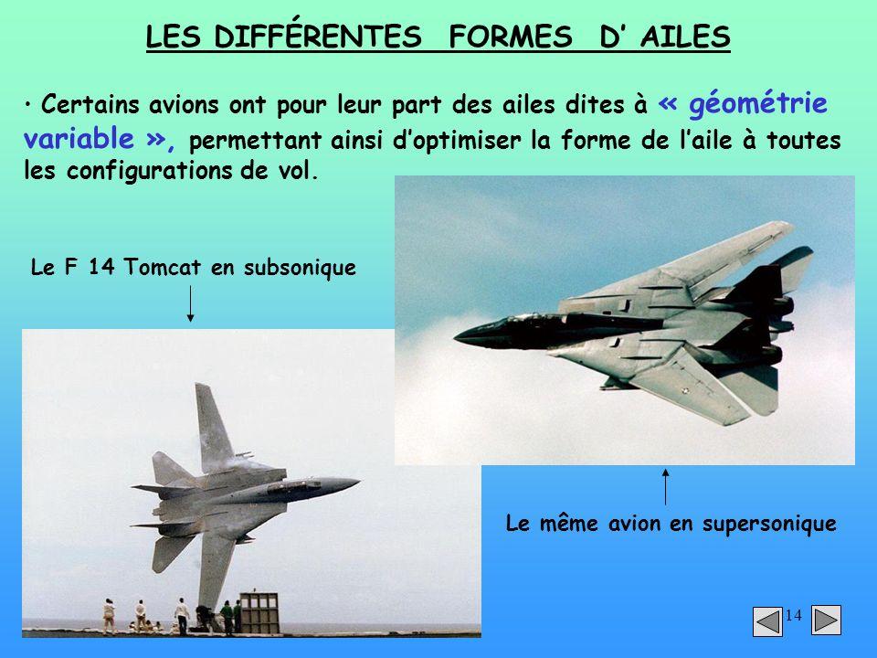 14 LES DIFFÉRENTES FORMES D AILES Certains avions ont pour leur part des ailes dites à « géométrie variable », permettant ainsi doptimiser la forme de
