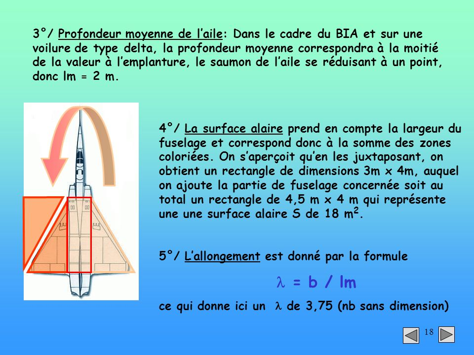 18 4°/ La surface alaire prend en compte la largeur du fuselage et correspond donc à la somme des zones coloriées. On saperçoit quen les juxtaposant,