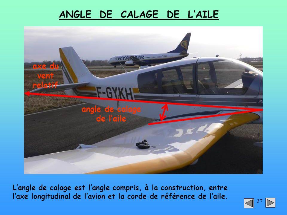37 ANGLE DE CALAGE DE LAILE angle de calage de laile axe du vent relatif Langle de calage est langle compris, à la construction, entre laxe longitudin