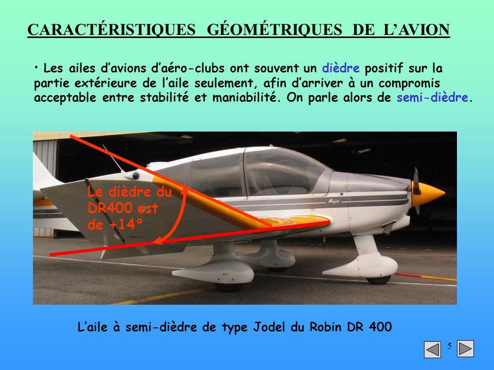 5 CARACTÉRISTIQUES GÉOMÉTRIQUES DE LAVION Les ailes davions daéro-clubs ont souvent un dièdre positif sur la partie extérieure de laile seulement, afi