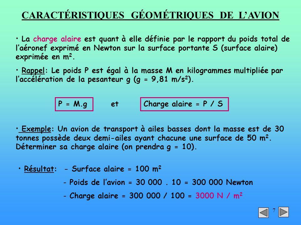 7 CARACTÉRISTIQUES GÉOMÉTRIQUES DE LAVION La charge alaire est quant à elle définie par le rapport du poids total de laéronef exprimé en Newton sur la