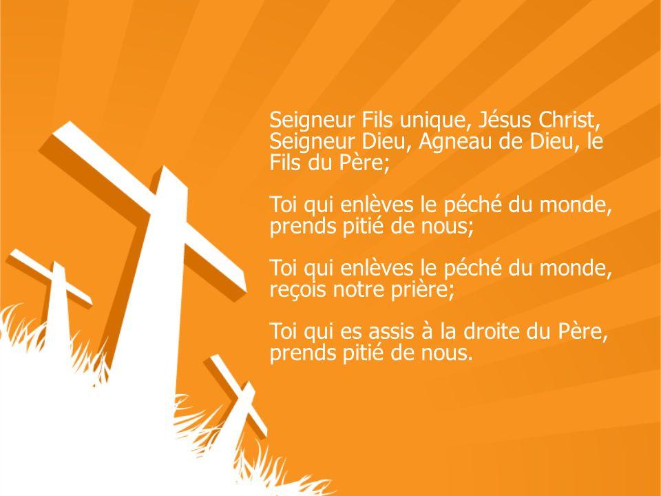 Seigneur Fils unique, Jésus Christ, Seigneur Dieu, Agneau de Dieu, le Fils du Père; Toi qui enlèves le péché du monde, prends pitié de nous; Toi qui e