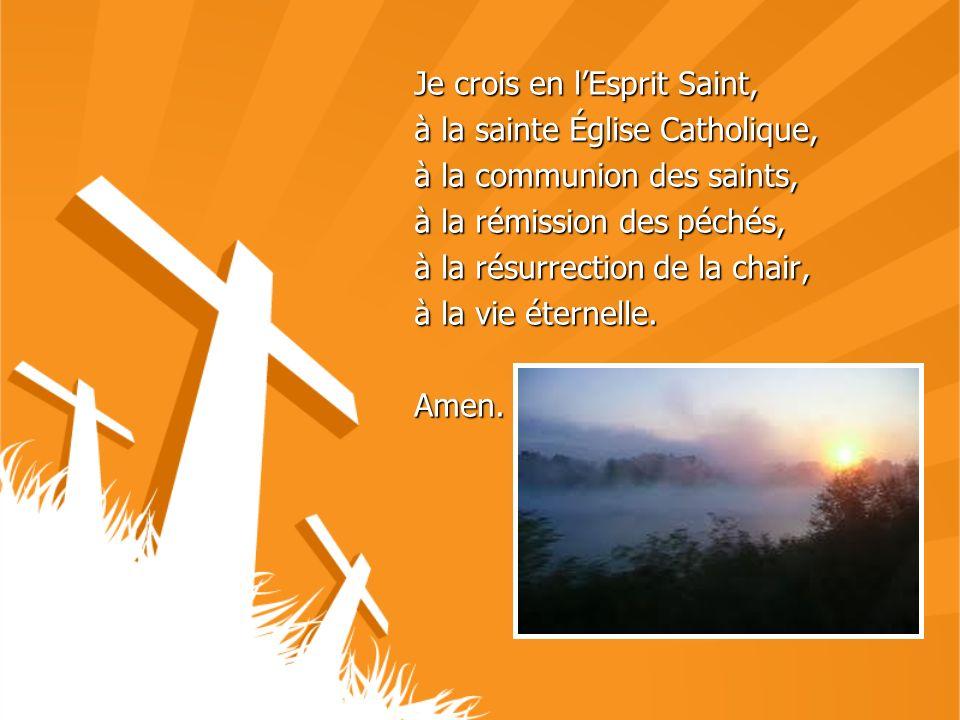 Je crois en lEsprit Saint, à la sainte Église Catholique, à la communion des saints, à la rémission des péchés, à la résurrection de la chair, à la vi