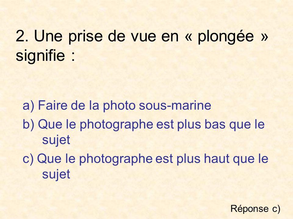 2. Une prise de vue en « plongée » signifie : a) Faire de la photo sous-marine b) Que le photographe est plus bas que le sujet c) Que le photographe e