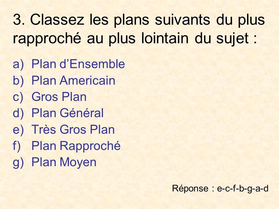 3. Classez les plans suivants du plus rapproché au plus lointain du sujet : a)Plan dEnsemble b)Plan Americain c)Gros Plan d)Plan Général e)Très Gros P