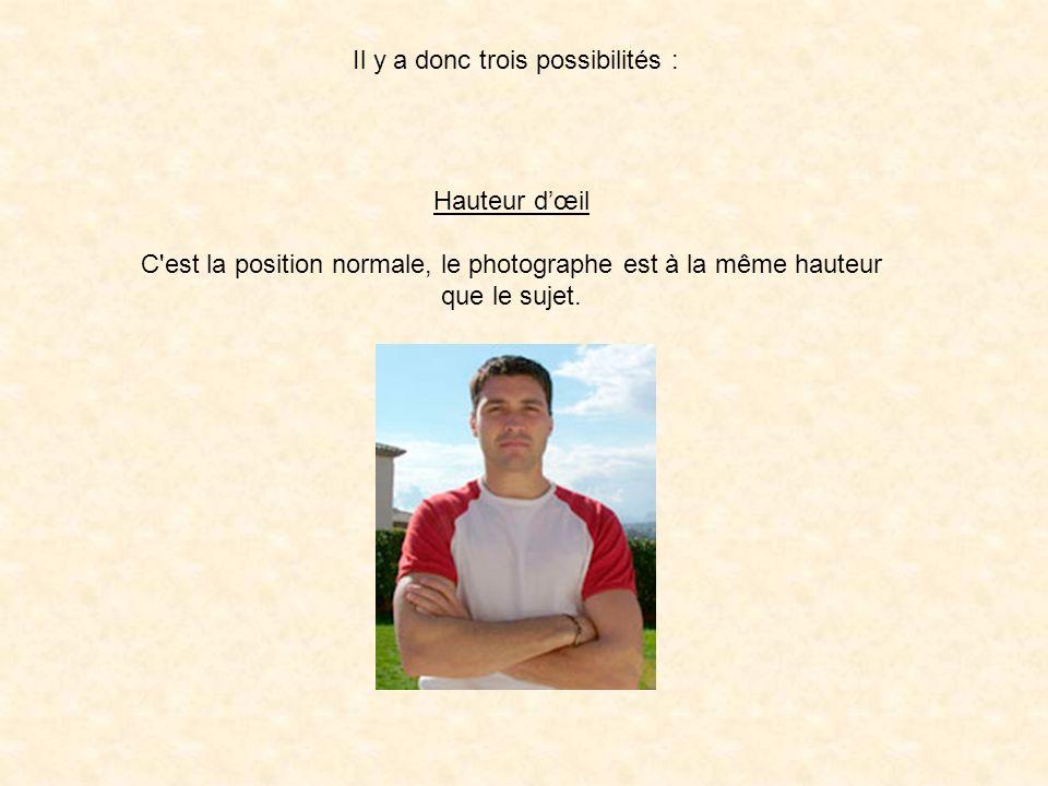 Il y a donc trois possibilités : Hauteur dœil C'est la position normale, le photographe est à la même hauteur que le sujet.