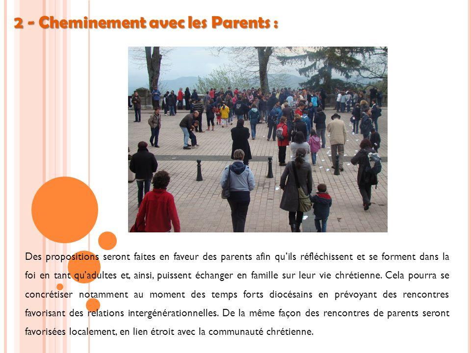 2 - Cheminement avec les Parents : Des propositions seront faites en faveur des parents afin quils réfléchissent et se forment dans la foi en tant quadultes et, ainsi, puissent échanger en famille sur leur vie chrétienne.