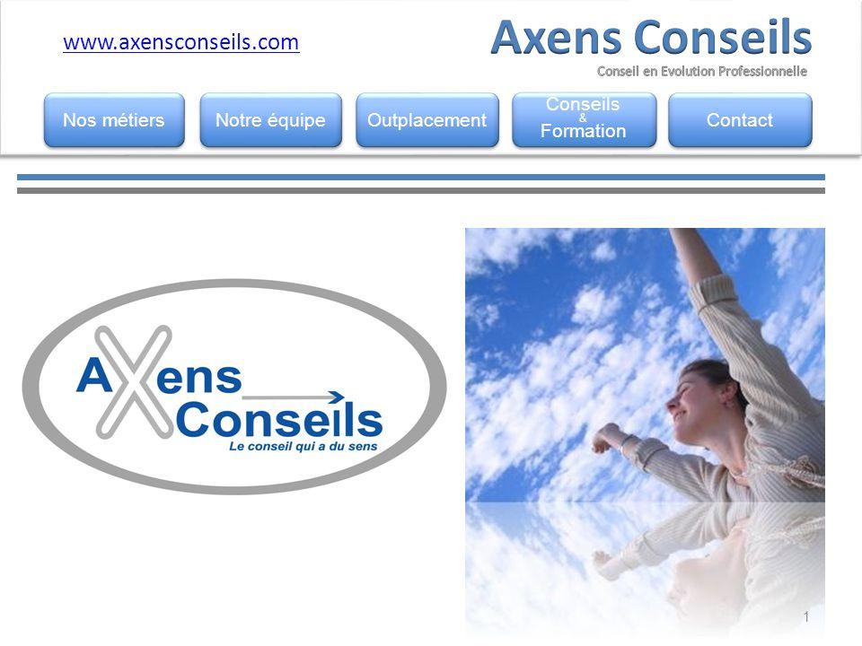 www.horemis.fr www.axensconseils.com Notre équipe Outplacement Conseils & Formation Conseils & Formation Contact Nos métiers 1