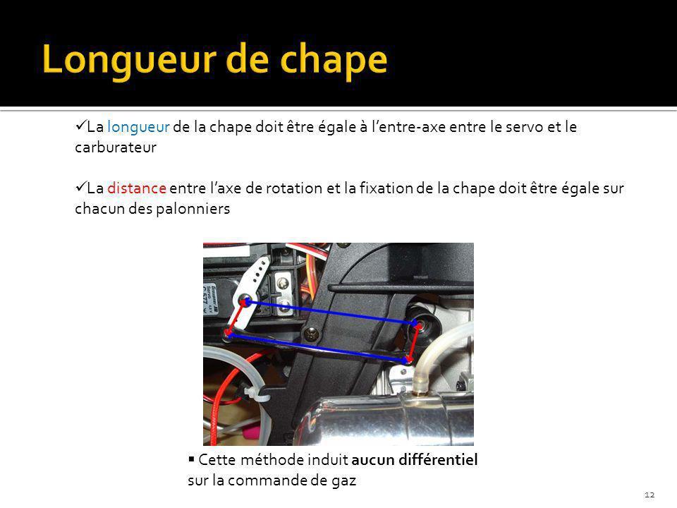 Cette méthode induit aucun différentiel sur la commande de gaz La longueur de la chape doit être égale à lentre-axe entre le servo et le carburateur L