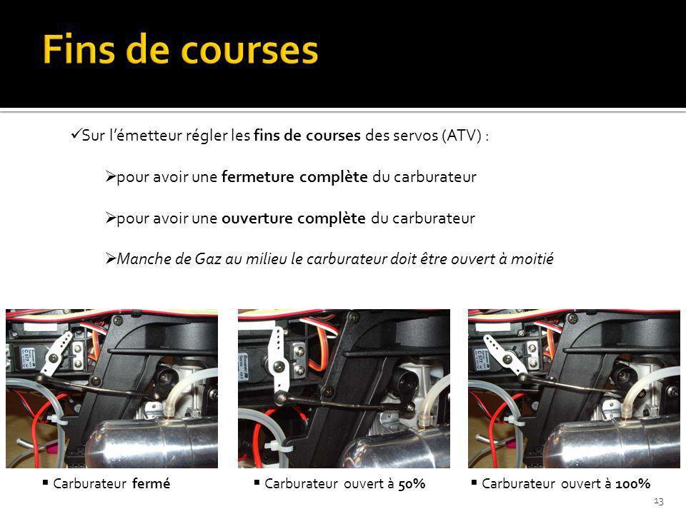 Sur lémetteur régler les fins de courses des servos (ATV) : pour avoir une fermeture complète du carburateur pour avoir une ouverture complète du carb