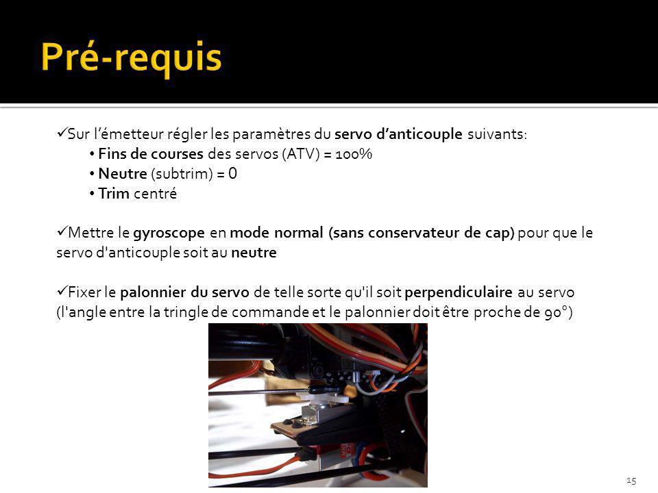 Sur lémetteur régler les paramètres du servo danticouple suivants: Fins de courses des servos (ATV) = 100% Neutre (subtrim) = 0 Trim centré Mettre le