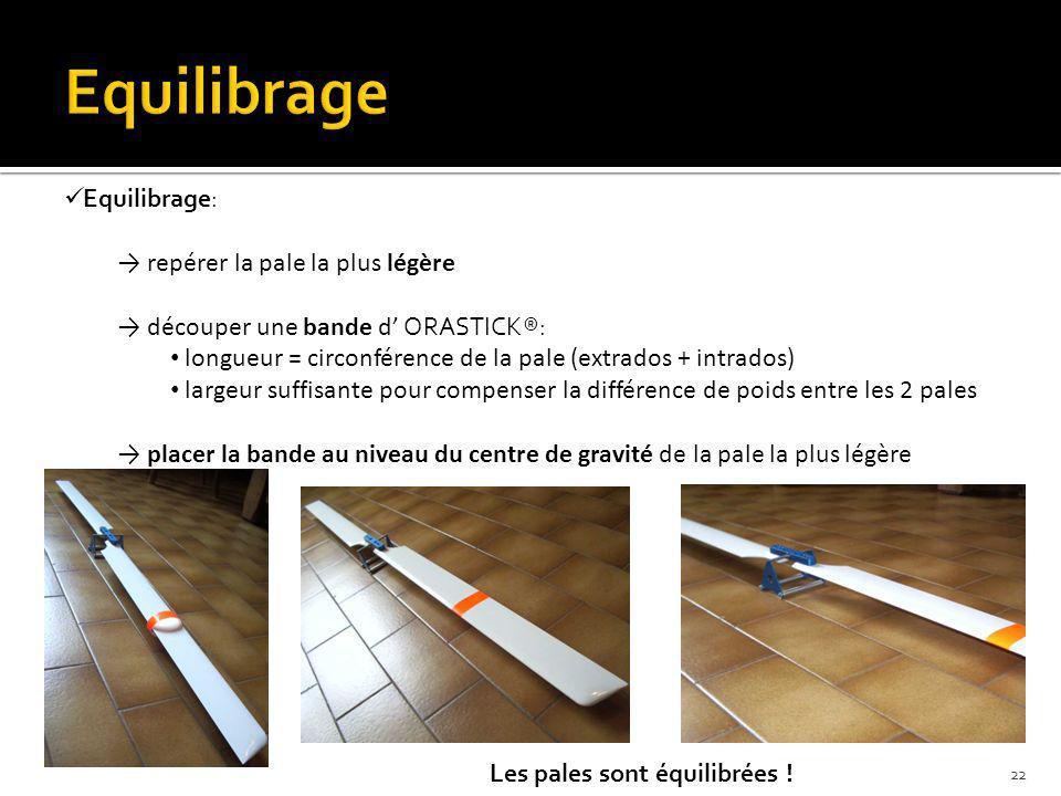 Equilibrage: repérer la pale la plus légère découper une bande d ORASTICK®: longueur = circonférence de la pale (extrados + intrados) largeur suffisan