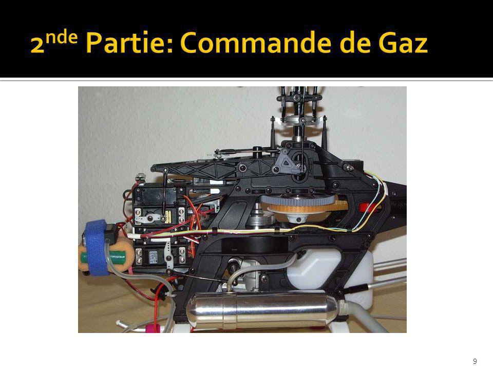 Configuration souhaitée: Le palonnier du carburateur doit être toujours parallèle au palonnier du servo de gaz.