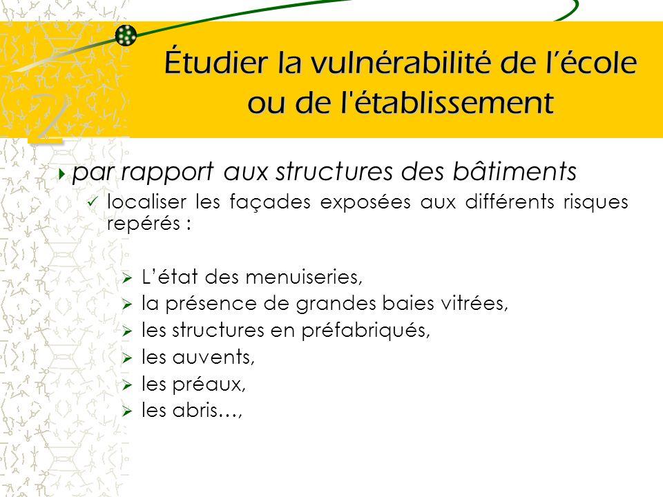 Étudier la vulnérabilité de lécole ou de l'établissement par rapport aux structures des bâtiments localiser les façades exposées aux différents risque