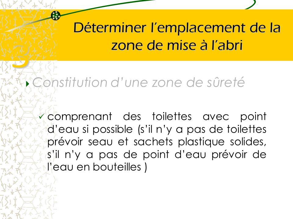 Déterminer lemplacement de la zone de mise à labri Constitution dune zone de sûreté comprenant des toilettes avec point deau si possible (sil ny a pas