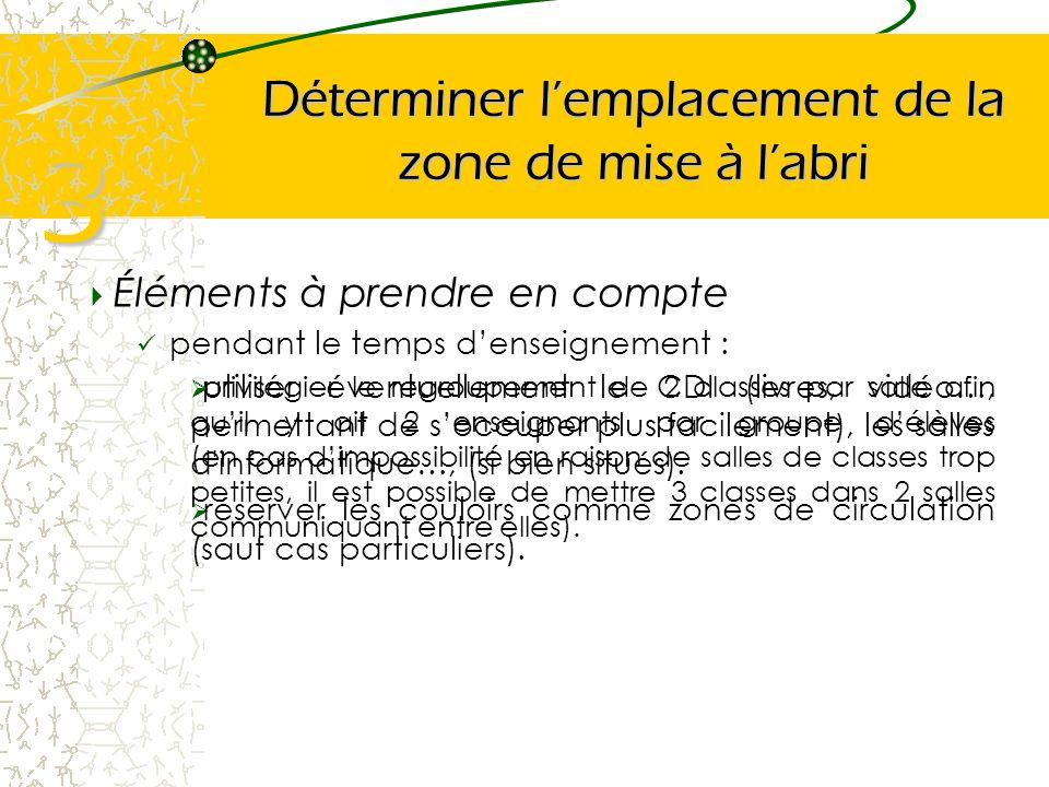 Déterminer lemplacement de la zone de mise à labri Éléments à prendre en compte pendant le temps denseignement : 3 privilégier le regroupement de 2 cl