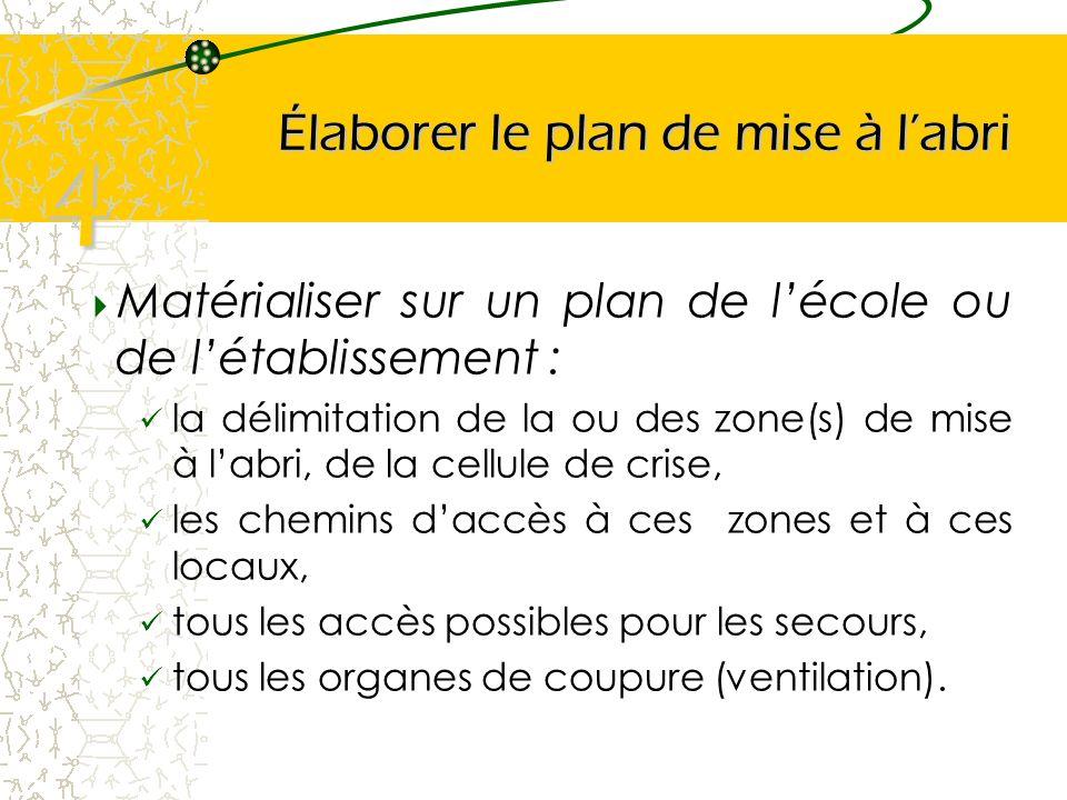 Élaborer le plan de mise à labri Matérialiser sur un plan de lécole ou de létablissement : la délimitation de la ou des zone(s) de mise à labri, de la