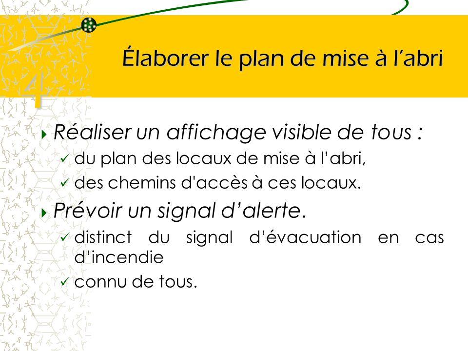 Élaborer le plan de mise à labri Réaliser un affichage visible de tous : du plan des locaux de mise à labri, des chemins d'accès à ces locaux. Prévoir