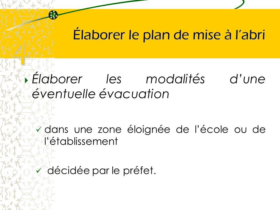 Élaborer le plan de mise à labri Élaborer les modalités dune éventuelle évacuation dans une zone éloignée de lécole ou de létablissement décidée par l