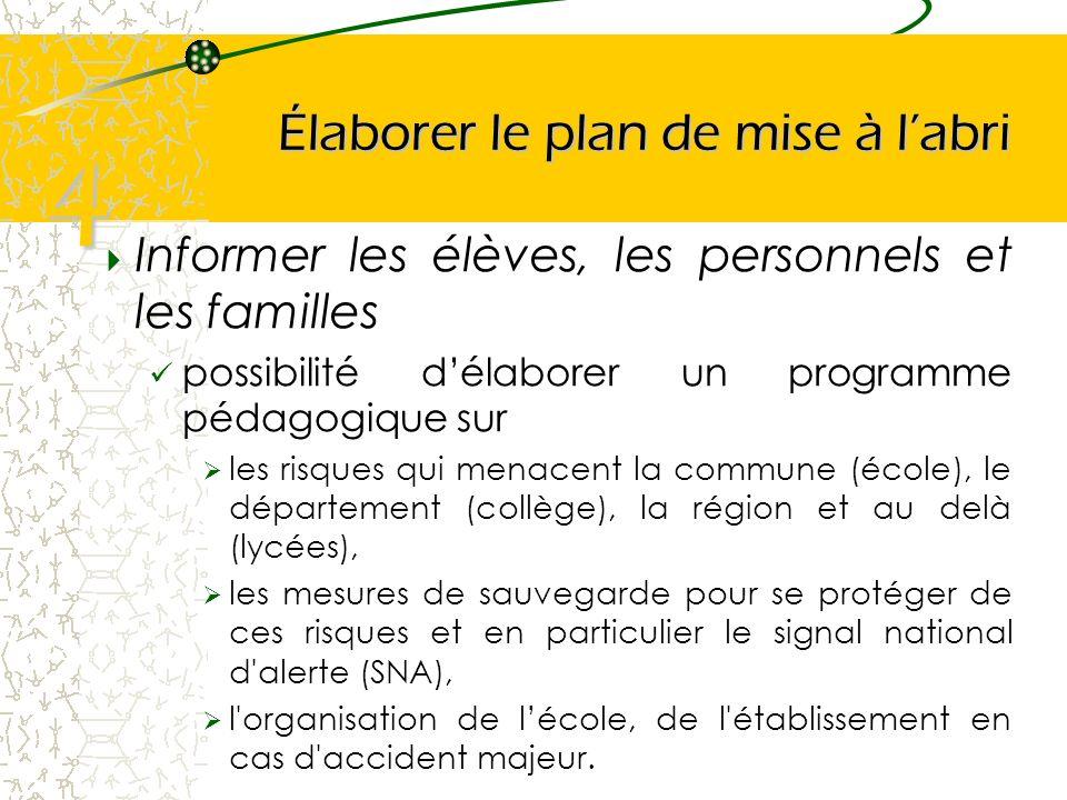 Élaborer le plan de mise à labri Informer les élèves, les personnels et les familles possibilité délaborer un programme pédagogique sur les risques qu