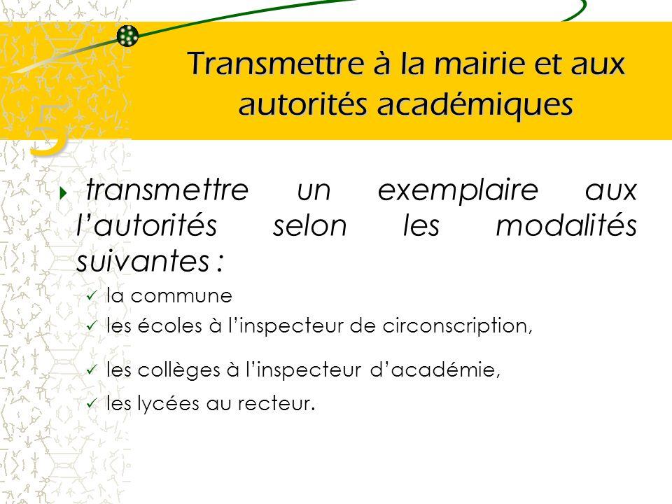 Transmettre à la mairie et aux autorités académiques transmettre un exemplaire aux lautorités selon les modalités suivantes : la commune les écoles à