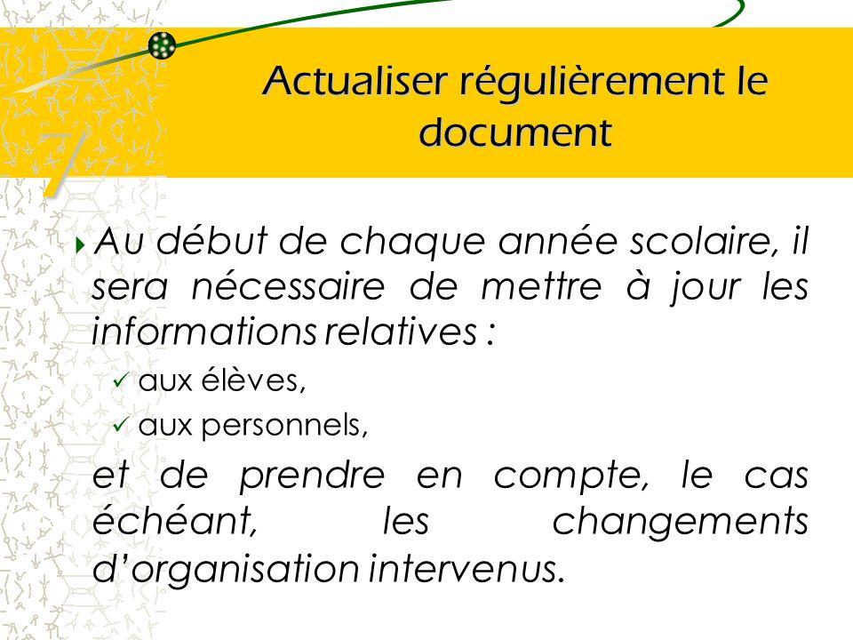 Actualiser régulièrement le document Au début de chaque année scolaire, il sera nécessaire de mettre à jour les informations relatives : aux élèves, a