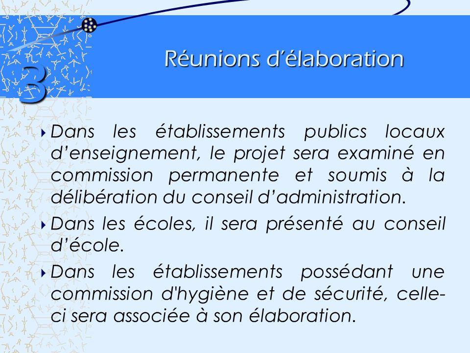 Réunions délaboration Dans les établissements publics locaux denseignement, le projet sera examiné en commission permanente et soumis à la délibératio