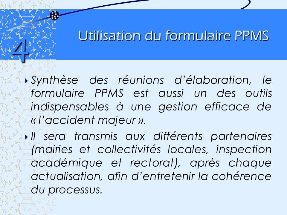 Utilisation du formulaire PPMS Synthèse des réunions délaboration, le formulaire PPMS est aussi un des outils indispensables à une gestion efficace de