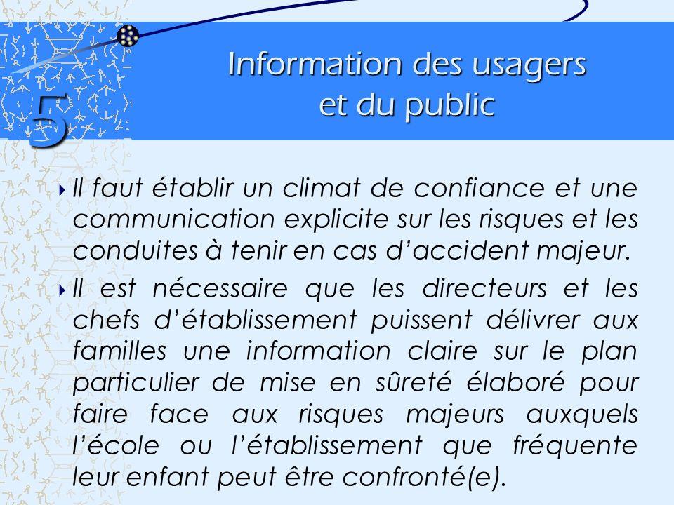 Information des usagers et du public Il faut établir un climat de confiance et une communication explicite sur les risques et les conduites à tenir en