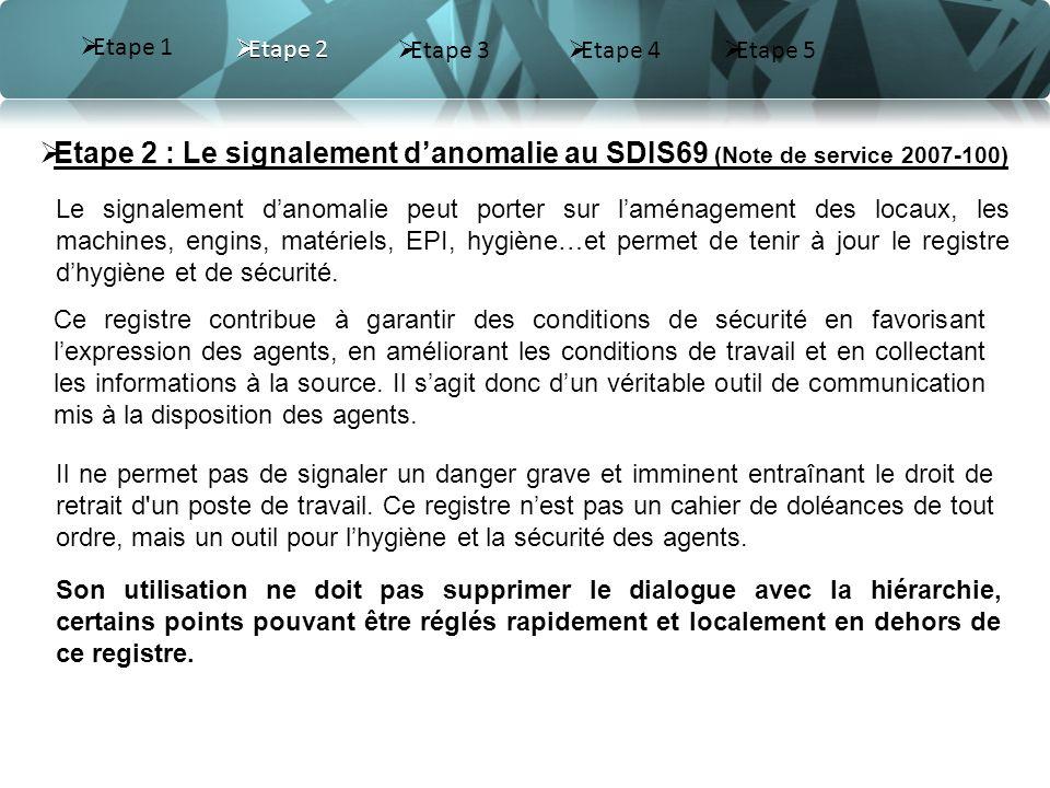 Etape 2 Etape 3 Etape 4 Etape 2 : Le signalement danomalie au SDIS69 (Note de service 2007-100) Le signalement danomalie peut porter sur laménagement des locaux, les machines, engins, matériels, EPI, hygiène…et permet de tenir à jour le registre dhygiène et de sécurité.
