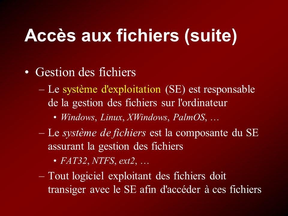Accès aux fichiers (suite) Gestion des fichiers –Le système d'exploitation (SE) est responsable de la gestion des fichiers sur l'ordinateur Windows, L