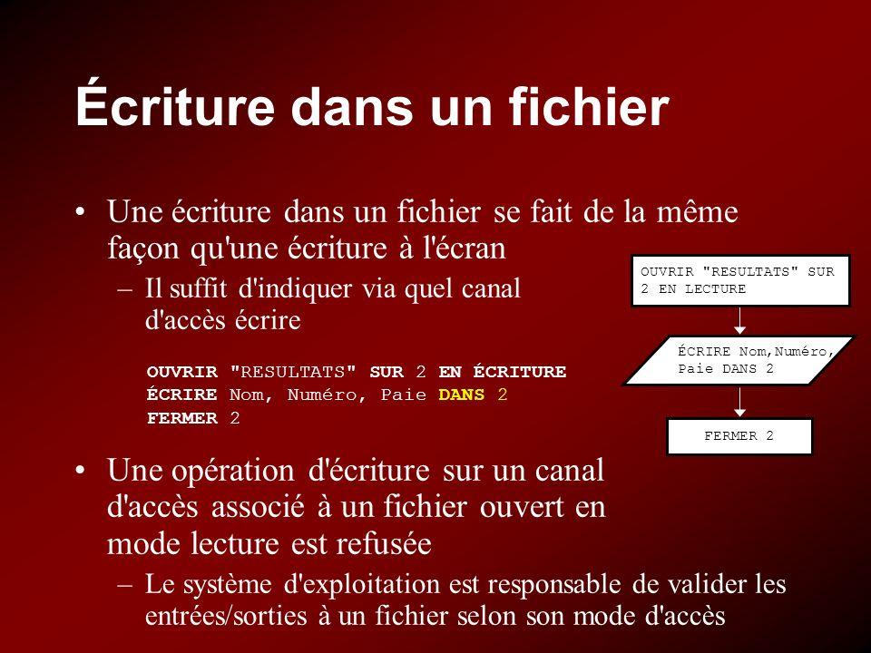 Écriture dans un fichier Une écriture dans un fichier se fait de la même façon qu'une écriture à l'écran –Il suffit d'indiquer via quel canal d'accès