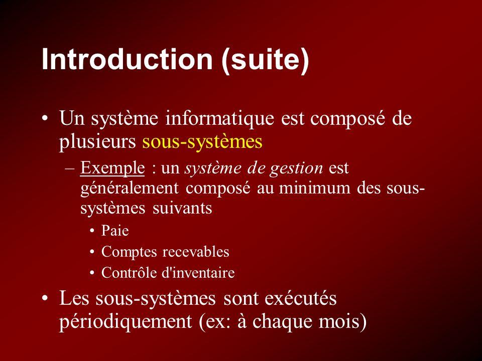 Introduction (suite) Un système informatique est composé de plusieurs sous-systèmes –Exemple : un système de gestion est généralement composé au minim
