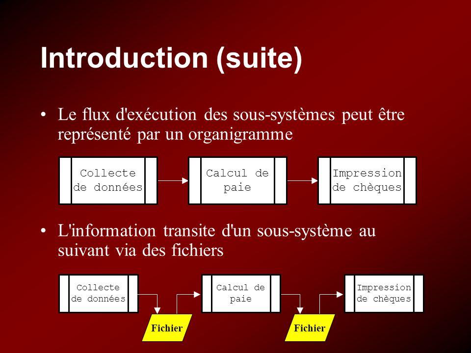 Introduction (suite) Le flux d'exécution des sous-systèmes peut être représenté par un organigramme L'information transite d'un sous-système au suivan