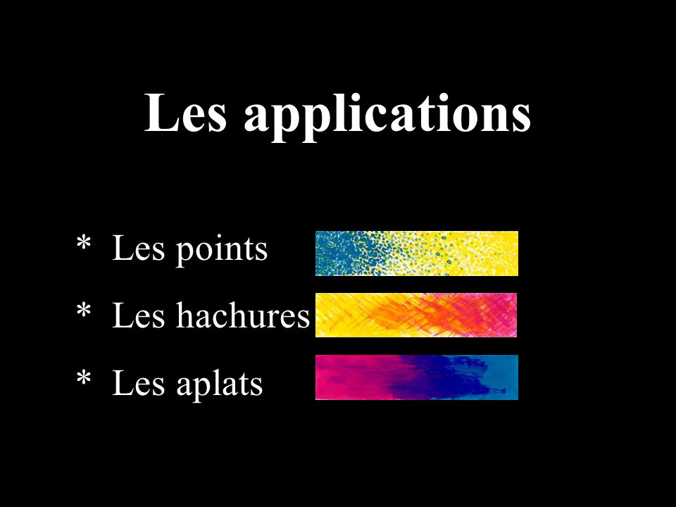 Le pointillisme est utilisé de manière à juxtaposer des points bleu cyan et jaune afin d obtenir un vert optique.