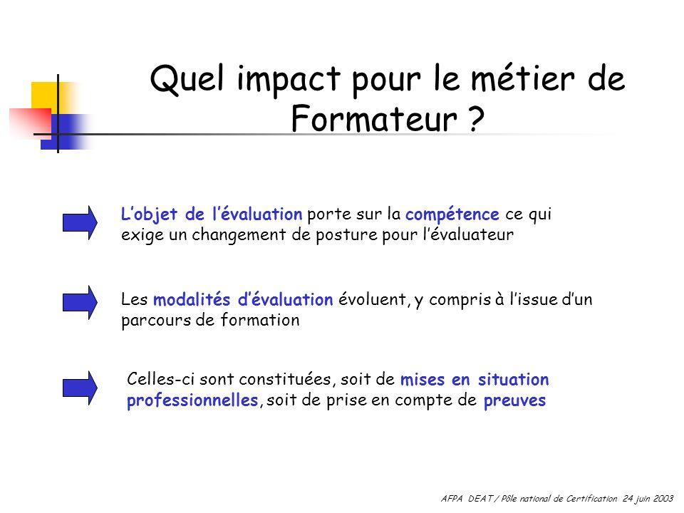 Quel impact pour le métier de Formateur ? Lobjet de lévaluation porte sur la compétence ce qui exige un changement de posture pour lévaluateur Les mod