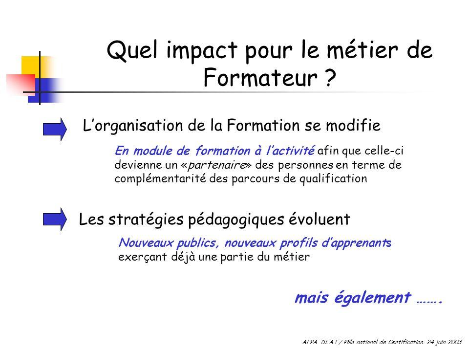 Quel impact pour le métier de Formateur ? Lorganisation de la Formation se modifie En module de formation à lactivité afin que celle-ci devienne un «p