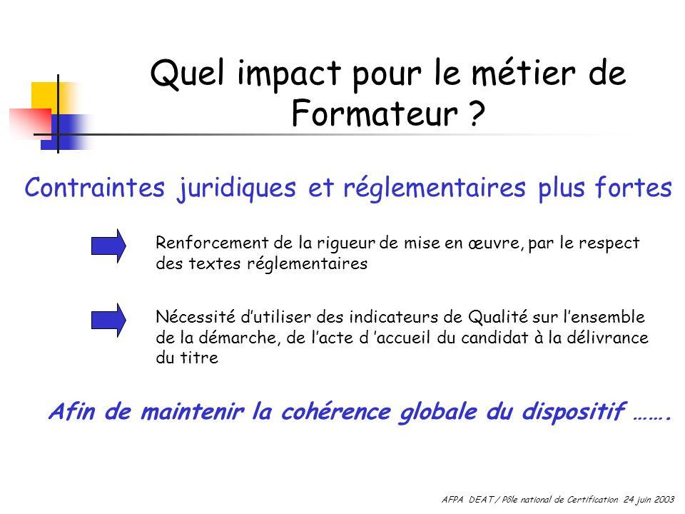 Quel impact pour le métier de Formateur ? Contraintes juridiques et réglementaires plus fortes Renforcement de la rigueur de mise en œuvre, par le res