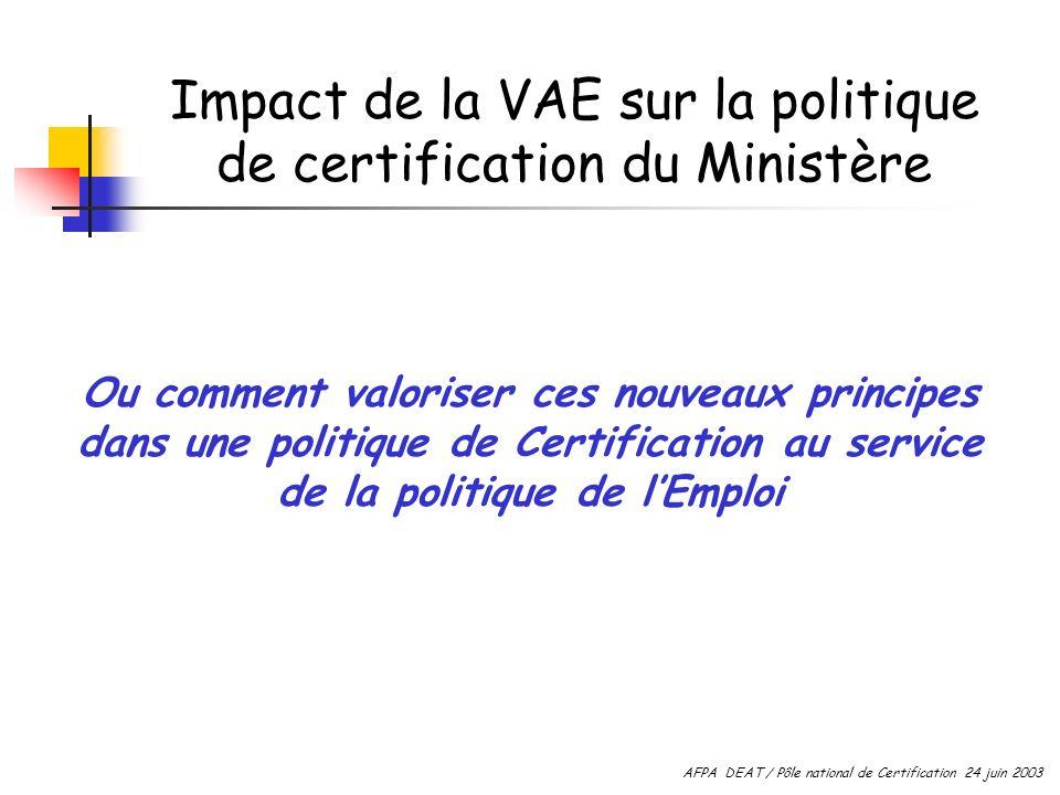 Impact de la VAE sur la politique de certification du Ministère Ou comment valoriser ces nouveaux principes dans une politique de Certification au service de la politique de lEmploi AFPA DEAT / Pôle national de Certification 24 juin 2003