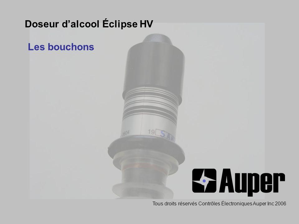Doseur dalcool Éclipse HV Les bouchons Tous droits réservés Contrôles Électroniques Auper Inc 2006